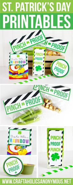 St. Patrick's Day FREE Printables! Great for school lunches or party. click for free downloads