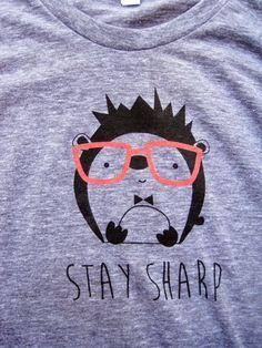 Hedgehog w Glasses  Women's TShirt  American Apparel by LeTrango, $24.00