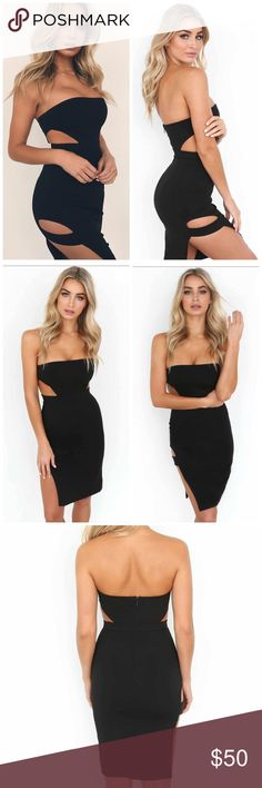 Black Strapless bodycon dress - LBD Black Strapless black bodycon dress Straight neckline Cut-outs at waist Straight hemline with cut-out side detailing Brand new with tag Dresses Midi