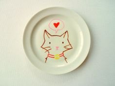 Decorative Plate Cat Illustrated Plate Home Decor by StudioFroezel, €12.00