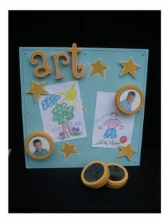 Kid Art Magnetic Board. this would be cool to do like a frame and just change out the pics from time to time!  :)