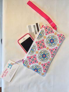 Pink Mandala Print Wristlet | Zippered Wristlet | Handmade Wristlet | Hot Pink Wristlet | Zipper Pouch Samsung Wristlet | iPhone 6 Wristlet by AmyReneeNicosia on Etsy