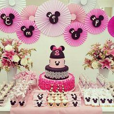 Mesa da festa de aniversário da nossa princesa! #minnierosa #festaminnie…