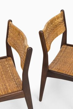 Mid Century Dining Chairs In Teak And Woven Cane At Studio Schalling Rattan