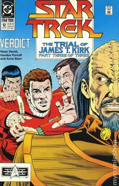 Star Trek DC Comic Book 12 Sep 1990 Verdict The Trial of James T. Kirk Part 3 Comic book has been in sleeve since purchase. It appears to be in very good - near mint condition, but I have not opened the packaging to view the inner pages. Star Wars, Star Trek Tos, Dc Comic Books, Comic Book Covers, Old Comics, Vintage Comics, James T Kirk, Star Trek Original Series, Silver Age Comics