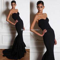 2014 Zuhair Murad Black Mermaid Sweep Train Backless Evening Dresses | Buy Wholesale On Line Direct from China