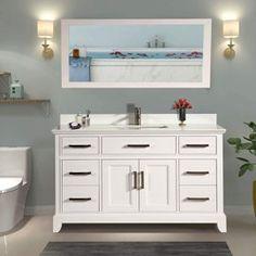 Bathroom Vanities - Walmart.com Vanity Set, 60 Inch Vanity, White Vanity Bathroom, Marble Vanity Tops, Single Sink Bathroom Vanity, Super White, Bathroom Essentials, Undermount Sink, Vanities