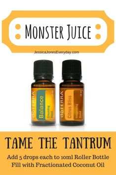Monster juice with doterra essential oils! Balance + Citrus Bliss = calm toddler #winning