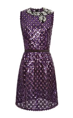 Purple oversized sequin eyelet sleeveless dress by Marc Jacobs