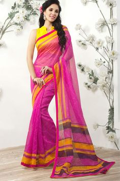 Pink & Yellow Super Net Saree With Unstitch Art Silk Blouse