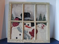 Snowman Winter Wonderland Painted Framed Window or Wall Picture Glass Smiling