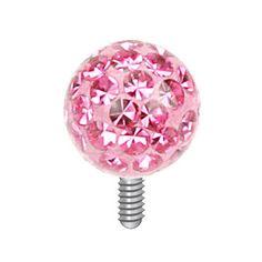 Dermal top swarovski roze