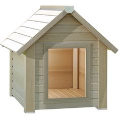 This eco-friendly dog house from New Age Pet features a tan construction. With an easy assembly, this small dog house is intended for animals up to twenty pounds.