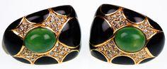 Ciner Gold Toned Earrings with Faux Jade Cabuchons Rhinestones & Black Enamel
