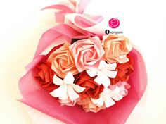 Small Bouquet of Origami pink red Roses & mini white Lilies /