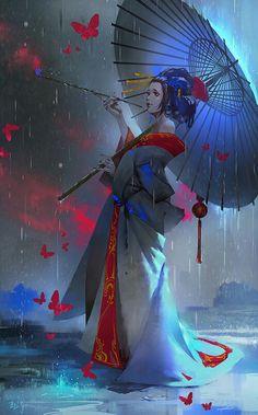 Geisha by Zudarts Lee Art Geisha, Geisha Anime, Japanese Artwork, Art Japonais, Art And Illustration, Japan Art, Chinese Art, Fantasy Characters, Manga Art