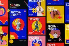 Graphic Assets on Behance Instagram Grid, Instagram Design, Instagram Posts, Banners, Collage Design, Design Graphique, Graphic Design Posters, Social Media Design, Design Reference