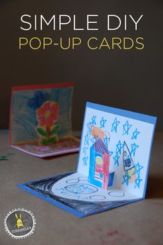 Using kids drawings to create custom personalized pop up cards for friends and family! No time to write a letter this month? Here is a Simple DIY Pop-Up Card to make and send to your sponsored child that will be sure to put a smile on their face. Kids Crafts, Projects For Kids, Diy For Kids, Foam Crafts, Birthday Diy, Birthday Cards, Birthday Presents, Arte Pop Up, Kids Pop
