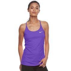 Women's Nike Dri-FIT Mesh Racerback Tank Top, Size: Medium, Purple Oth