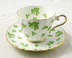 Aynsley Tea Cup and Saucer with Shamrock, Clover, Vintage Bone China