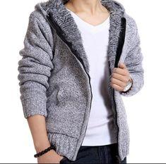 Coats & Jackets Mens Zip Fur Lined Sweater Winter Coats Slim Fleece Jacket Hooded Cardigan Hot Casual Sweaters, Winter Sweaters, Cardigans, Western Outfits, Hooded Cardigan, Sweater Cardigan, Fur Jacket Mens, Woolen Clothes, Pullover Mode