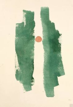 Georgia O'Keeffe - Untitled (Abstraction Two Green Lines Small Red Circle)