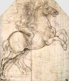 Study of a rider and rearing horse for The Adoration of the Magi - Leonardo da Vinci c.1481. Courtesy of the Fitzwilliam Museum
