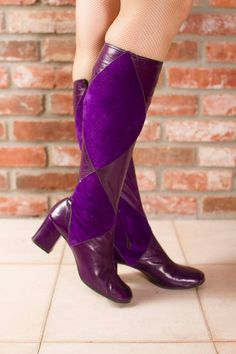 Vintage 1960s GoGo Boots  Fine Leather Suede Harlequin by FabGabs, $146.00