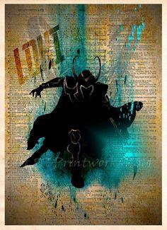Loki, The Avengers dictionary art print, Super Hero Pop Art, Loki splatter art