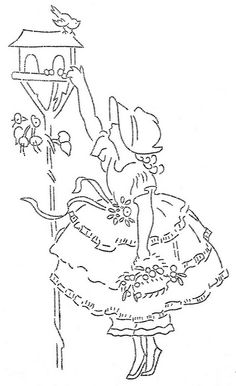 woman/birds embroidery pattern