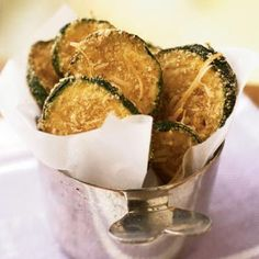 Breaded, oven-fried zucchini chips taste like they're fried, yet they are baked and amazingly crispy. These chips make a healthy substitute for French fries or potato chips. | Health.com