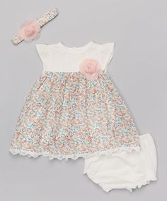 Look at this Wendy Bellissimo Pink & Ivory Floral Babydoll Dress Set - Infant on #zulily today!