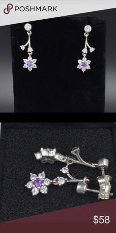 """Pandora Earrings NWOT Pandora """"Forget Me Not"""" earrings. Sterling silver and cubic zirconia. Properly hallmarked S925 ALE. Pandora box not available. No trades or off-Posh transactions. Thanks and happy Poshing!! Pandora Jewelry Earrings"""