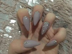 Matte almond nails with Swarovski crystals
