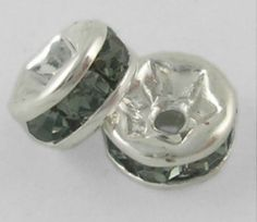 SOLD! 50 Silver Smoke Grade A Rhinestone Rondelles, 6mm. Starting at $5 on Tophatter.com!  http://tophatter.com/auctions/34083