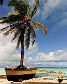 Outrigger and Palm, Tabuaeran, Kiribati