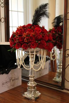 wedding centerpieces with pearls with red flowers. 9 Amusing Wedding Centerpieces With Pearls Ideas