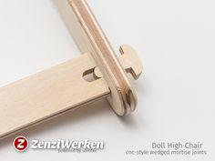 ZenziWerken | Puppenhochstuhl schrauben und leimlose Holzverbindung / glue- and screwless all-wood joints