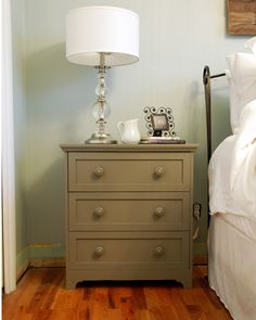 This is a $35 small dresser from Ikea that a woman painted and used as a night stand. I LOVE this idea! How cute.