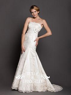 <b>Angel</b>-Detachable Lace Sleeves Mermaid Wedding Dress