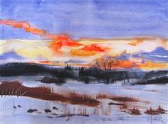 Contemporary Watercolor Artists | sunset_flare___original_contemporary_watercolor_la ...