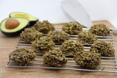 Avocado Chocolate Chip Oatmeal Cookies Makes 12 cookies 2 1/2c oats, gluten free rolled oats 2 medium ripe bananas 1 ripe avocado, peel and pit removed 1 tsp pure vanilla extract 1 tsp of cinnamon 1/3c chocolate chips or cacao nibs  If you want them to be a richer green color you can add 1/2 teaspoon matcha powder.