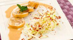 Receta de calamares rellenos en salsa de cebolla