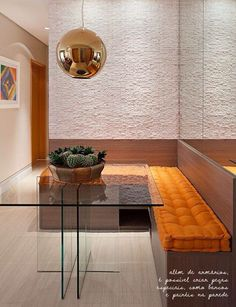 Bench-style dining room seating with a glass top table creates a modern dining nook in this home. Kitchen Dinning, Dining Nook, Dinning Table, Sweet Home, Dinner Room, Small Dining, Interior Decorating, House Design, Home Decor