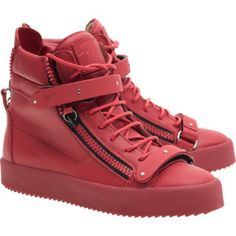 GIUSEPPE ZANOTTI MAY LONDON TR DONNA BIREL VAGUE FIAMMA // Leather sneakers with metal buckles