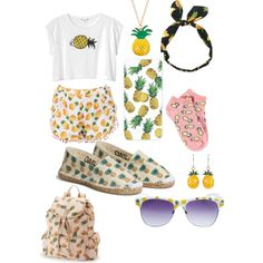 Pineapple?? by ellenks on Polyvore featuring polyvore, fashion, style, Monki, Forever 21, Candie's, Louche, Wet Seal and OAS