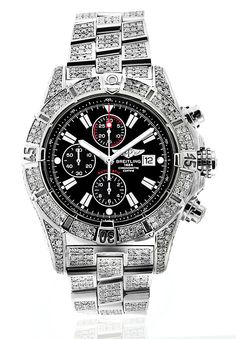 BREITLING SUPER AVENGER BLACK A13370 15CT FULLY COVERED DIAMOND AUTHENTIC WATCH
