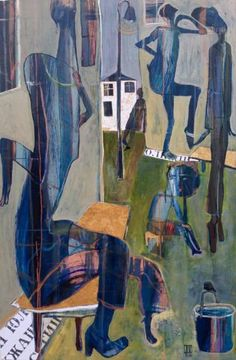 """Culture of the Street by Ilya Volykhine; 2015; oil, ink and collage on canvas; 59.1 H x 39.4 W x 2"""" 