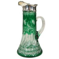 Beautiful case crystal pitcher with silver fitting