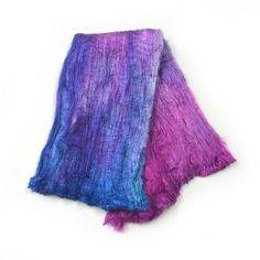 Silk Cocoon Sheet Fabric Hand Dyed in a Pink and Blue Mix 12605 Wet Felting, Needle Felting, Mulberry Silk, Texture Art, Fiber Art, Tie Dye Skirt, Pink Blue, Textiles, Hands